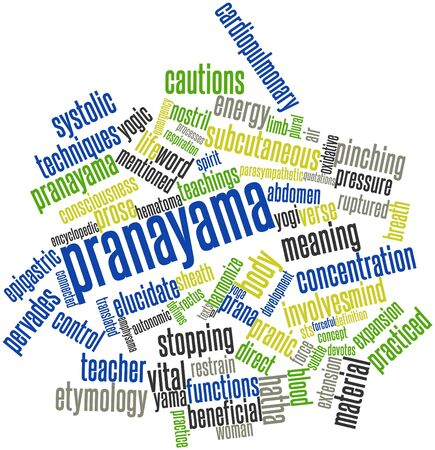 derives: Abstract word cloud for Pranayama with related tags and terms