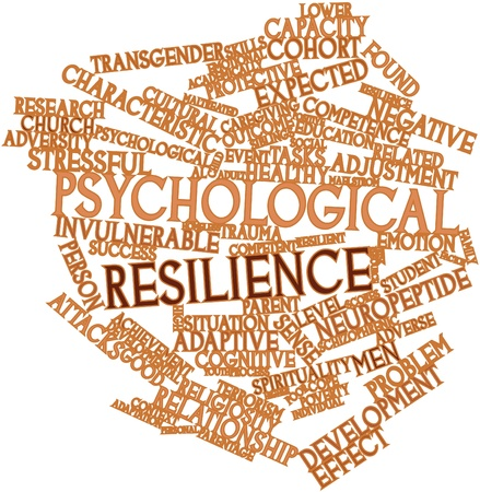 Abstract word cloud for Psychological resilience with related tags and terms photo
