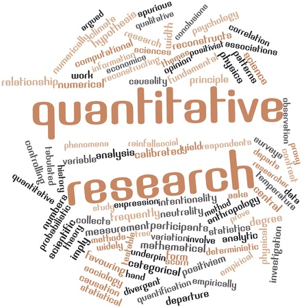 investigation: Abstract word cloud for Quantitative research with related tags and terms Stock Photo