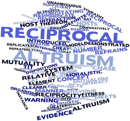 altruism: Nube palabra abstracta para el altruismo recíproco con las etiquetas y términos relacionados