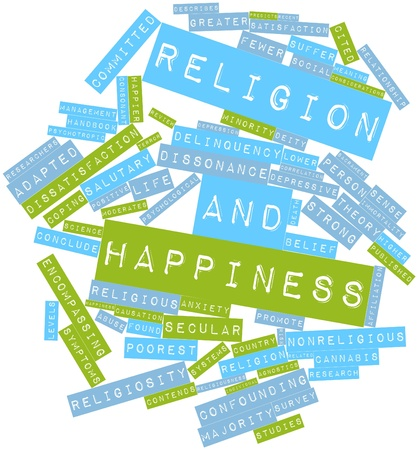 causation: Abstract word cloud for Religion and happiness with related tags and terms