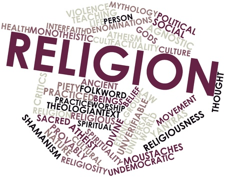 spiritual beings: Abstract word cloud for Religion with related tags and terms Stock Photo