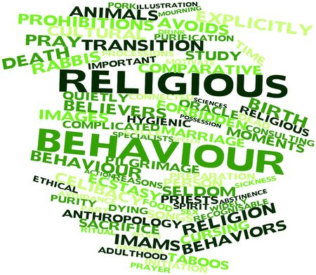 Abstract word cloud for Religious behaviour with related tags and terms Stock Photo - 16617564