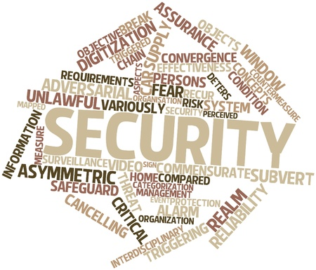 realm: Abstract word cloud for Security with related tags and terms Stock Photo