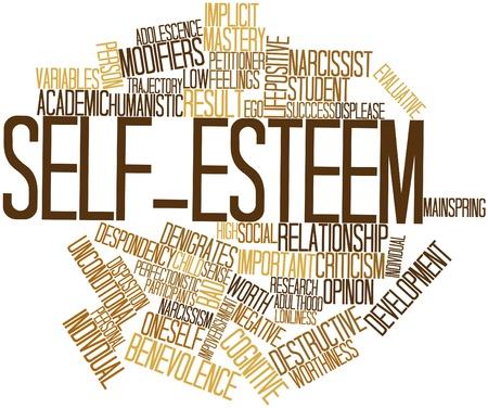 trajectoire: Nuage de mot abstrait pour l'estime de soi avec des �tiquettes et des termes connexes
