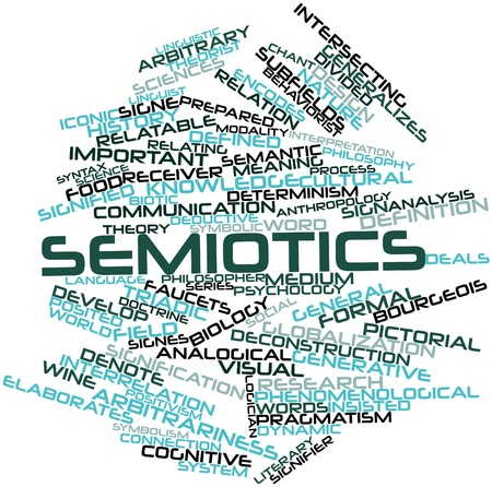 posited: Abstract word cloud for Semiotics with related tags and terms Stock Photo