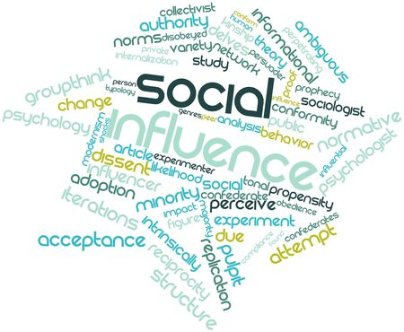 sociologist: Abstract word cloud for Social influence with related tags and terms Stock Photo