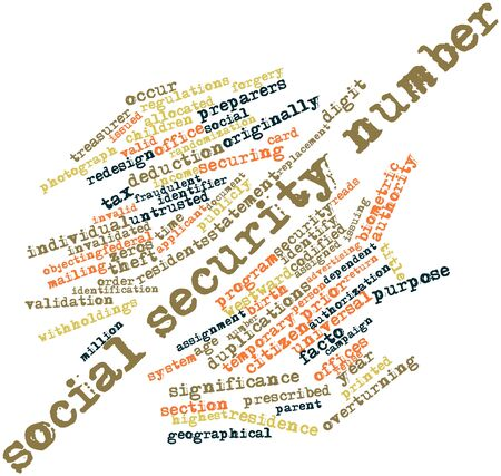 securing: Abstract word cloud for Social Security number with related tags and terms