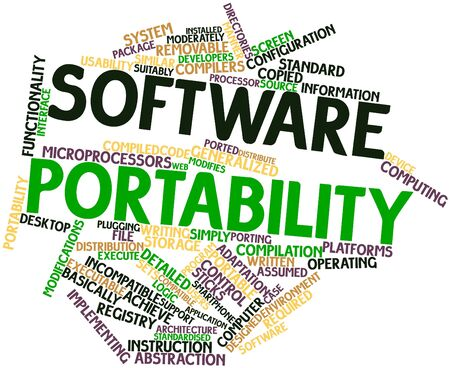 ported: Abstract word cloud for Software portability with related tags and terms Stock Photo
