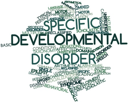 learning language: Abstract word cloud for Specific developmental disorder with related tags and terms