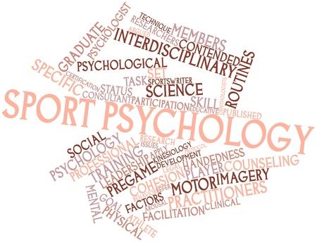psicologia infantil: Nube palabra abstracta para la psicología del deporte con las etiquetas y términos relacionados Foto de archivo
