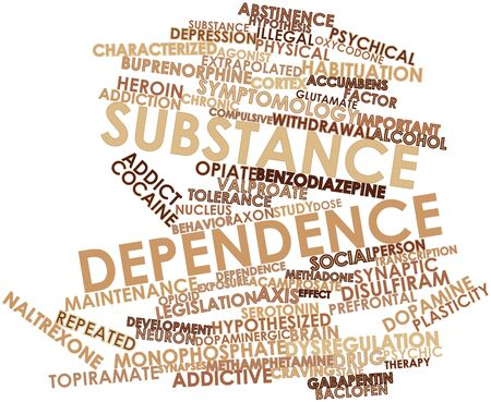 addictive: Abstract word cloud for Substance dependence with related tags and terms