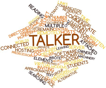 precursor: Abstract word cloud for Talker with related tags and terms