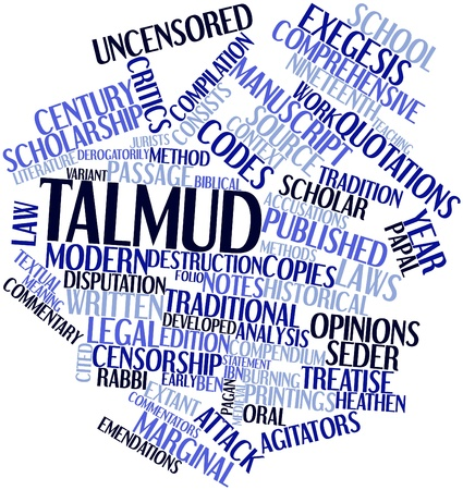 jurists: Abstract word cloud for Talmud with related tags and terms Stock Photo
