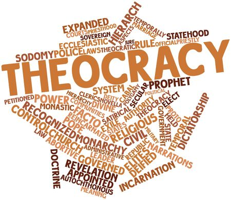facto: Abstract word cloud for Theocracy with related tags and terms
