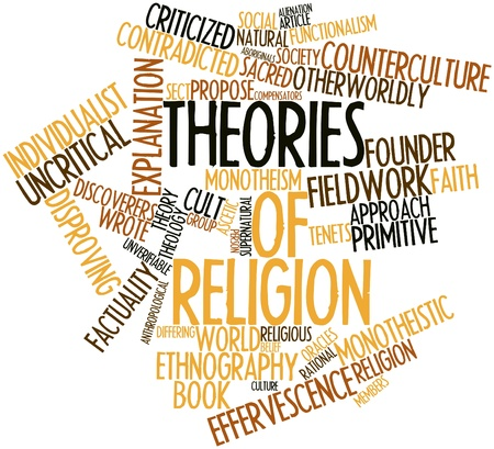 stratification: Abstract word cloud for Theories of religion with related tags and terms