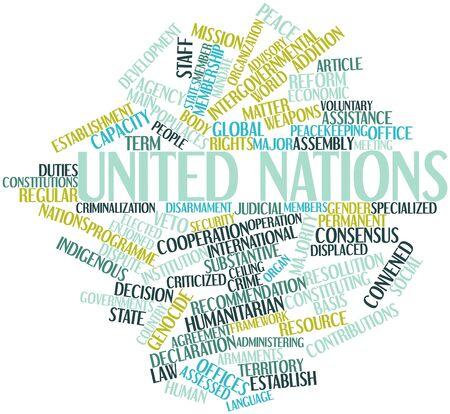 naciones unidas: Nube de la palabra abstracta de las Naciones Unidas con las etiquetas y términos relacionados