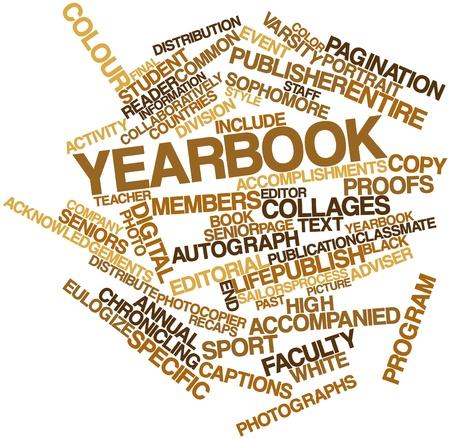 journalistic: Word cloud astratto per Yearbook con tag correlati e termini Archivio Fotografico