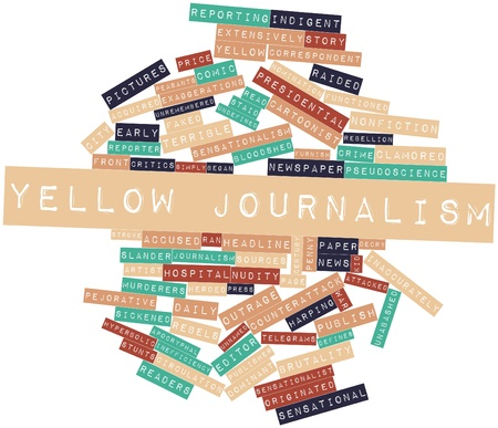 acknowledgment: Abstract word cloud for Yellow journalism with related tags and terms