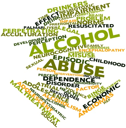 diagnosed: Abstract word cloud for Alcohol abuse with related tags and terms
