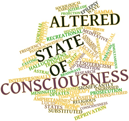 ingestion: Abstract word cloud for Altered state of consciousness with related tags and terms Stock Photo