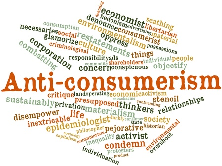 critique: Abstract word cloud for Anti-consumerism with related tags and terms