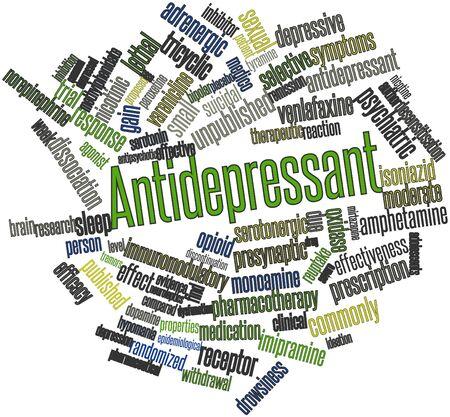 remission: Word cloud astratto per antidepressivi con tag correlati e termini