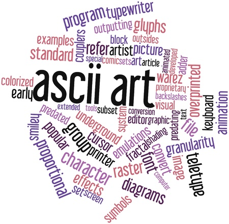 warez: Abstract word cloud for ASCII art with related tags and terms Stock Photo