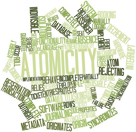securing: Abstract word cloud for Atomicity with related tags and terms Stock Photo