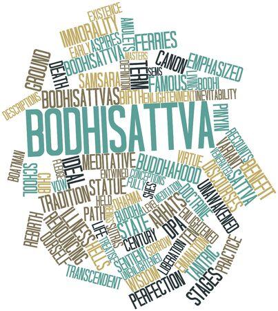 iluminados: Nube palabra abstracta para Bodhisattva con etiquetas y términos relacionados