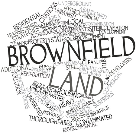 relic: Abstract word cloud for Brownfield land with related tags and terms Stock Photo