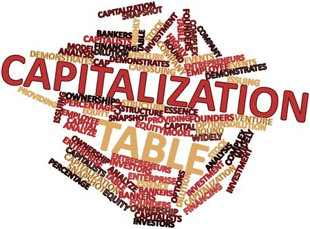 employee stock option: Abstract word cloud for Capitalization table with related tags and terms