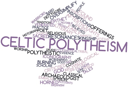 yew: Abstract word cloud for Celtic polytheism with related tags and terms