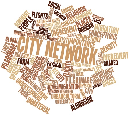 exist: Abstract word cloud for City network with related tags and terms
