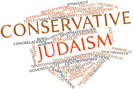 monotheism: Abstract word cloud for Conservative Judaism with related tags and terms Stock Photo