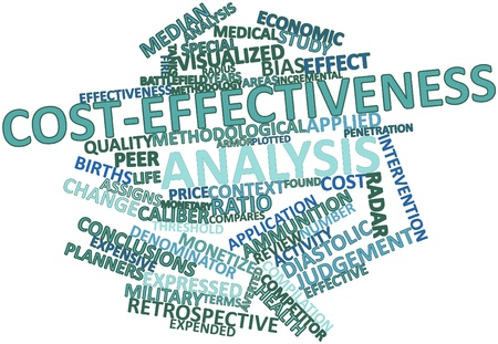 monetary: Abstract word cloud for Cost-effectiveness analysis with related tags and terms Stock Photo