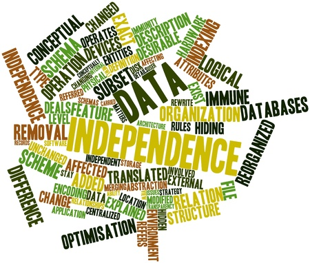 rewrite: Abstract word cloud for Data independence with related tags and terms