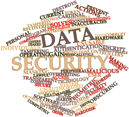 state owned: Abstract word cloud for Data security with related tags and terms
