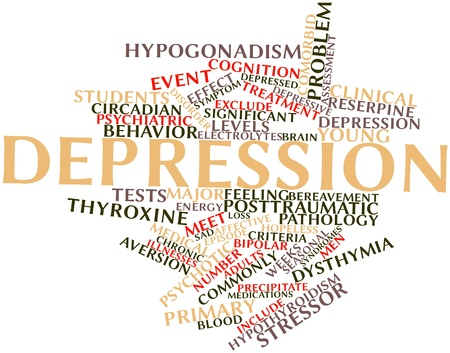 Abstract word cloud for Depression with related tags and terms Stock Photo - 16627998