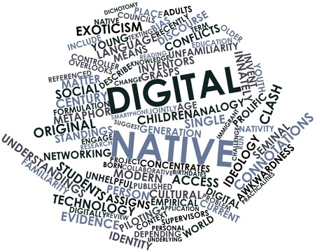 prolific: Abstract word cloud for Digital native with related tags and terms Stock Photo