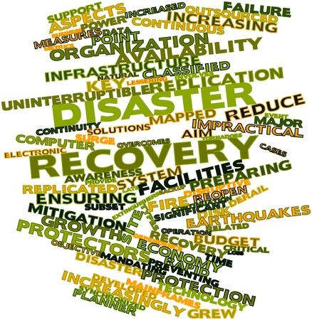catastrophe: Nuage de mots abstraits pour la r�cup�ration apr�s sinistre avec des �tiquettes et des termes connexes