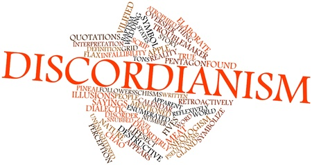 imposed: Abstract word cloud for Discordianism with related tags and terms