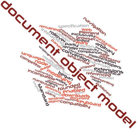arbitrario: Nube palabra abstracta para el Modelo de objetos de documento con etiquetas y términos relacionados
