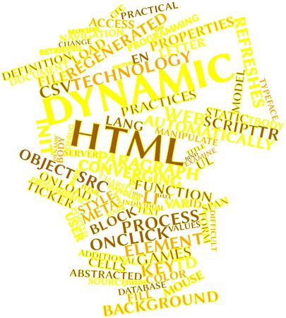 Abstract word cloud for Dynamic HTML with related tags and terms Stock Photo - 16629130