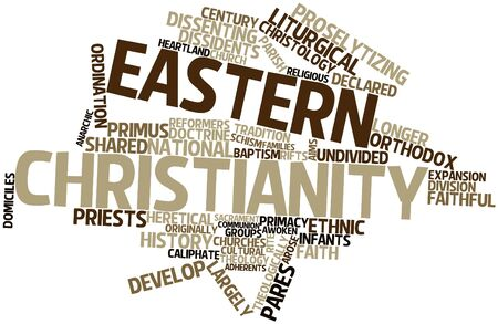 dissenting: Abstract word cloud for Eastern Christianity with related tags and terms Stock Photo