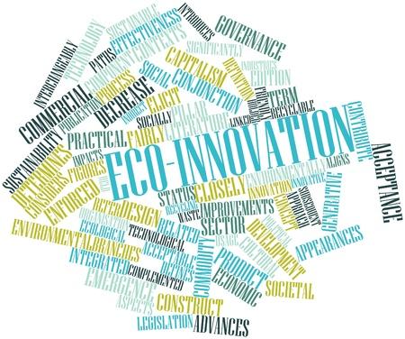 determines: Word cloud astratto per eco-innovazione con tag correlati e termini Archivio Fotografico