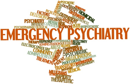 episodes: Abstract word cloud for Emergency psychiatry with related tags and terms Stock Photo