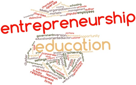 entrepreneurship: Abstract word cloud for Entrepreneurship education with related tags and terms Stock Photo