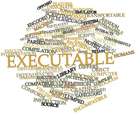 standardised: Abstract word cloud for Executable with related tags and terms Stock Photo