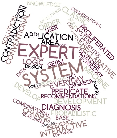 declarative: Abstract word cloud for Expert system with related tags and terms Stock Photo